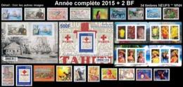 POLYNESIE Année Complète 2015 + BF (NEUF ** MNH) : Yv. 1079 à 1109 Dont 2 Carnets + BF 42 Et 43  (34 Tp)  ..Réf.POL25083 - Polynésie Française