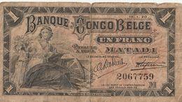 EEN FRANK.-BANQUE DU CONGO BELGE 15.1.20 - Democratic Republic Of The Congo & Zaire