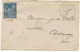 ISERE ENV 1880 LA FRETTE T17 SUR 15C SAGE - Postmark Collection (Covers)