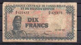 Congo - 10 Francs - 01-08-58  - Plis Et Sale - KB01 - [ 5] Congo Belga