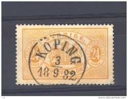 Suède  -  Services  -  1874  :  Yv  8 B  (o)   Dentelé 14  ,  Obl. Koping               ,     N6 - Service