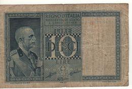 ITALY  10 Lire    Vittorio Emanuele III   (Biglietto Di Stato   1938 - XVII ) - Italia – 10 Lire