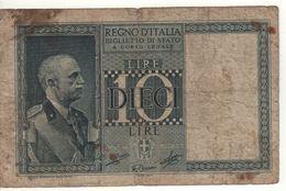 ITALY  10 Lire    Vittorio Emanuele III   (Biglietto Di Stato   1939 - XVII ) - Italia – 10 Lire