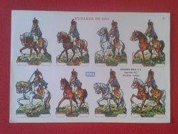 ANTIGUA HOJA RECORTABLE SPAIN ESPAÑA RECORTABLES BOGA HUSARES HÚSAR DE 1820 CABALLERÍA ? CABALLEROS...A CABALLO HORSE... - Vieux Papiers
