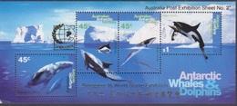 AAT, Bloc N° 2 Singapore 95 (Baleine à Bosse, Dauphin, Baleine, Orque), Neufs ** - Nuevos