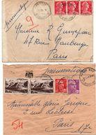 2 Lettre Pneumatique Paris 123 1955 & Paris XVII Av. Wagram 1960 - Scan Recto-verso - Muller Gandon - Marcophilie (Lettres)