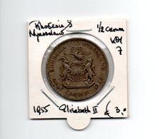 RHODESIE & NYASSALAND 1/2 CROWN 1955 ELISABETH II - Rhodésie