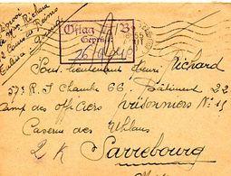 C5 1940  LETTRE+ COURRIER FM FRONT STALAG CASERNE DES UHLANS A SARREBOURG REDIRIGE ALLEMAGNE - Guerre De 1939-45