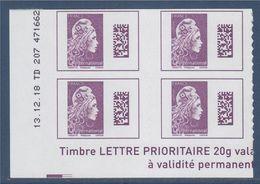 Marianne L'Engagée 2019 Bloc X4 Bas De Feuille Gauche International N°1656 Neuf Adhésif Coin Daté 13.12.18 TD 207 471662 - 2018-... Marianne L'Engagée