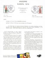 DOCUMENT OFICIAL LA POSTE ANDORRE Nº 2 EUROPA 74 - Andorra Francese