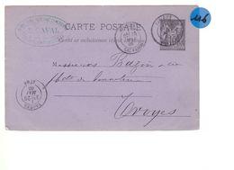 Un Entier Postal 10 C Type Sage Lisieux  25 Mai  Sur Carte Postale 25 Mai 1885  Destination Troyes - Enteros Postales