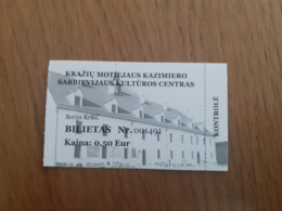 Lithuania Litauen Ticket Kraziu Cultural Center 2020 - Tickets - Vouchers