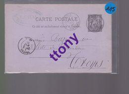 Un Entier Postal 10 C Type Sage  Sur Carte Postale 2 Mai 1885  Destination Troyes - Enteros Postales