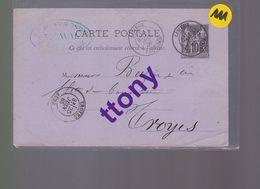 Un Entier Postal 10 C Type Sage  Sur Carte Postale 25 Juin 1885  Destination Troyes - Enteros Postales