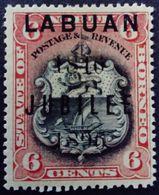 Borneo 1896 Armoiries Arms Surchargé Overprinted LABUAN JUBILEE 1846 Yvert 69 * MH - Bornéo Du Nord (...-1963)