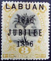 Borneo 1896 Arbre Tree Palmier Palmtree Surchargé Overprinted LABUAN JUBILEE 1846 Yvert 67 * MH - Bornéo Du Nord (...-1963)