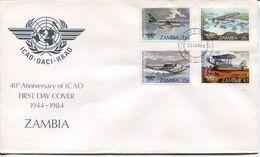 Zambia Sambia Mi# 306-9 Used On FDC - Aviation ICAO - Zambia (1965-...)