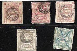 Queensland !892-1896, 6 Singles, Used, Raioways Ofr Newspapers & Parcels,  Trains - Eisenbahnen