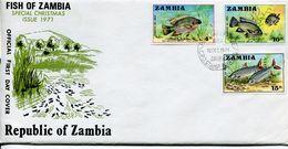 Zambia Sambia Mi# 74-6 Used On FDC - Fauna Fish - Zambia (1965-...)