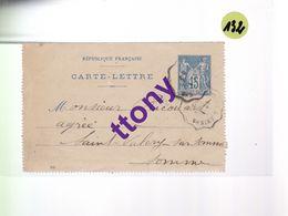 Un Entier Postal 15 C Type Sage  Sur Une Carte Lettre  Amiens  1er Février  1899 - Enteros Postales