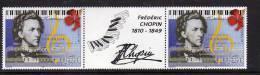 Polynésie N° 603A  XX  150ème Anniversaire De La Mort De F. Chopin , La Paire Avec Vignette Centrale Sans Charnière TB - Non Classés