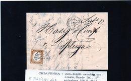 CG21 - Lettera Da Chiavenna Per Spluga 28/9/1863 - Ann. Doppio Cerchio Con Ornato Sardo/Ital Su Cent. 10  F.to Raybaudi - ...-1850 Préphilatélie