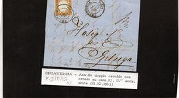 CG21 - Lettera Da Chiavenna Per Spluga 21/10/1863 - Ann. Doppio Cerchio Con Ornato Sardo/Ital Su Cent. 10  F.to Diena - ...-1850 Préphilatélie