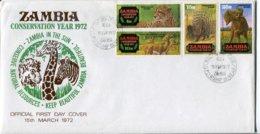 Zambia Sambia Mi# 77-80 Used On FDC - Fauna - Zambia (1965-...)