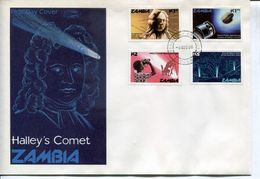 Zambia Sambia Mi# 364-7 Used On FDC - Space Halley's Comet - Zambie (1965-...)
