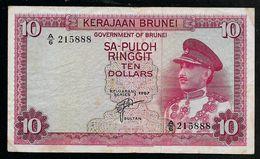Brunei Darussalam 10 Ringgit Sultan Omar 1967 VF - Brunei