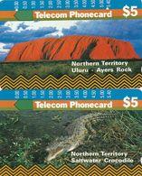 Australia, T8C1-2 - T8C2-2, Set Of 2 Cards, Trial Cards - National States Series, NT, Crocodile, 2 Scans. - Australie