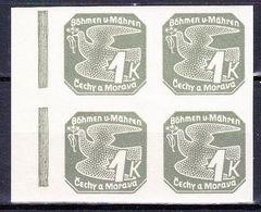 Boheme Et Moravie 1939 Mi 50 (Yv TPJ 9), (MNH)**, Bloc De 4 Avec Bdf - Bohemia & Moravia