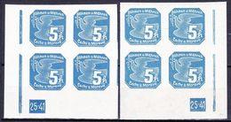 Boheme Et Moravie 1939 Mi 43 (Yv TPJ 2), (MNH)**, 2x Bloc De 4 Avec No De Planche 25-41 - Bohemia & Moravia