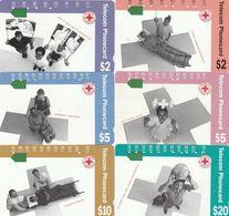 Australia, N91011-1-2 -  N91016-4-2, Set Of 6 Cards, Red Cross - First National Phonecard, 2 Scans. - Australie