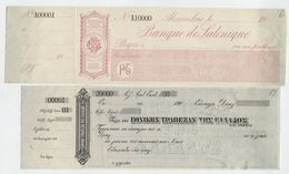 GREECE -  2 Specimen CHECK - NATIONAL BANK OF GREECE & BANK OF SALONIQUE - BRADBURY WILKINSON & Co - 1910/15 - Grèce