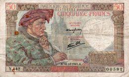 FRANCE 50 FRANCS 1941 P-93 CIRCOLATA - 1871-1952 Antiguos Francos Circulantes En El XX Siglo