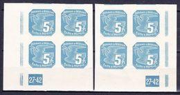 Boheme Et Moravie 1939 Mi 43 (Yv TPJ 2), (MNH)**, 2x Bloc De 4 Avec No De Planche 27-42 - Bohemia & Moravia
