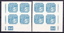 Boheme Et Moravie 1939 Mi 43 (Yv TPJ 2), (MNH)**, 2x Bloc De 4 Avec No De Planche 28-42 - Bohemia & Moravia