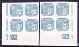 Boheme Et Moravie 1939 Mi 43 (Yv TPJ 2), (MNH)**, 2x Bloc De 4 Avec No De Planche 31-42 - Bohemia & Moravia