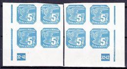 Boheme Et Moravie 1939 Mi 43 (Yv TPJ 2), (MNH)**, 2x Bloc De 4 Avec No De Planche 32-42 - Bohemia & Moravia