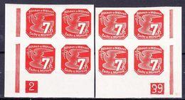Boheme Et Moravie 1939 Mi 44 (Yv TPJ 3), (MNH)**, 2x Bloc De 4 Avec No De Planche 2-39 - Bohemia & Moravia