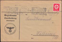138 Dienstmarke Als EF Brief LANDSBERG Bekenntnismarsch 18.9.1937 Nach Weilheim - Officials