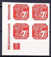 Boheme Et Moravie 1939 Mi 44 (Yv TPJ 3), (MNH)**, Bloc De 4 Avec No De Planche 2 - Bohemia & Moravia