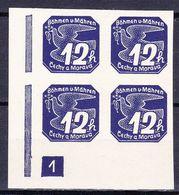 Boheme Et Moravie 1939 Mi 47 (Yv TPJ 6), (MNH)**, Bloc De 4 Avec No De Planche 1 - Bohemia & Moravia