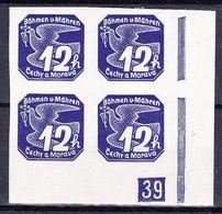Boheme Et Moravie 1939 Mi 47 (Yv TPJ 6), (MNH)**, Bloc De 4 Avec No De Planche (2)-39 - Bohemia & Moravia