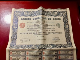 BANQUE  SYNDICALE  De  PARIS  --------------Action  De  250 Frs - Bank & Insurance