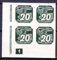 Boheme Et Moravie 1939 Mi 48 (Yv TPJ 7), (MNH)**, Bloc De 4 Avec No De Planche 1 - Bohemia & Moravia