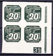 Boheme Et Moravie 1939 Mi 48 (Yv TPJ 7), (MNH)**, Bloc De 4 Avec No De Planche (2)-39 - Bohemia & Moravia