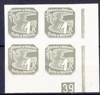 Boheme Et Moravie 1939 Mi 50 (Yv TPJ 9), (MNH)**, Bloc De 4 Avec No De Planche (1)-39 - Bohemia & Moravia