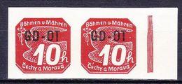 Boheme Et Moravie 1939 Mi 51 (Yv TPJ 10), (MNH)**, Paire Avec Bdf - Bohemia & Moravia
